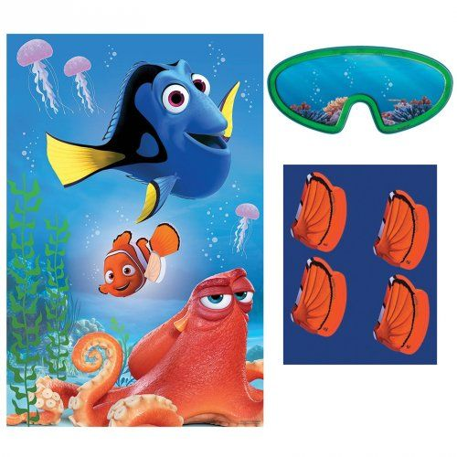 The perfect party game for your Finding Dory themed event!  The Finding Dory Party Game features Dory, Nemo and Hank in their underwater world! Put on the blindfold and place the fin sticker on Nemo to win the game.   #partytheme #findingdory #findingnemo #partygame #kidsgames #kidstoys #happybirthday #kidsparty #doryparty #designerkids #designerbaby #motherhood #event #styling #partyplanning #partyshop #partydecor #littlebooteekau