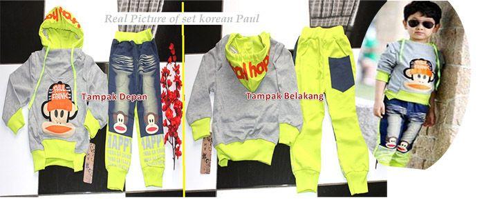 Boyset Korean Paul Frank Gray |  Rp150.000 Grosir Perlengkapan Bayi, Aksesoris Bayi, Mainan Bayi