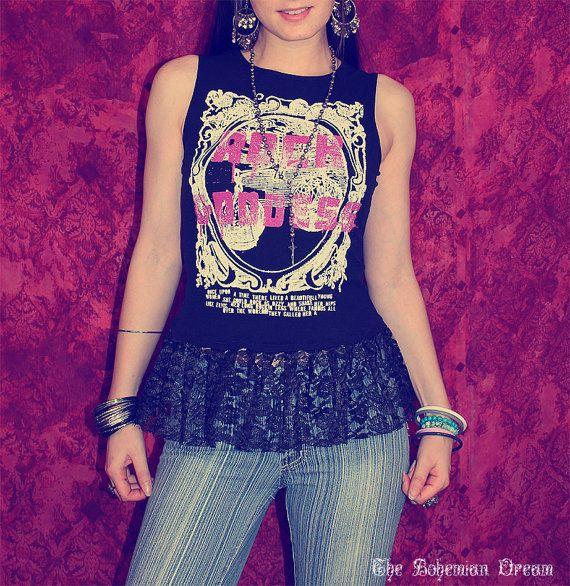 Bohemian top Rock Goddess peplum shirt sleeveless Boho Hippie style Upcycled clothing OOAK by TheBohemianDream