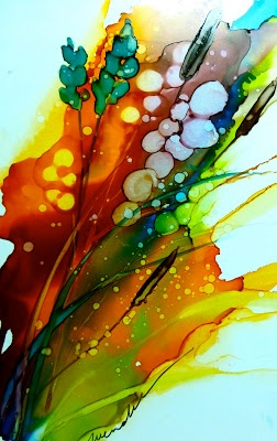 Alcohol Inks on Yupo...make your own alcohol inks with powdered RIT and rubbing alcohol?