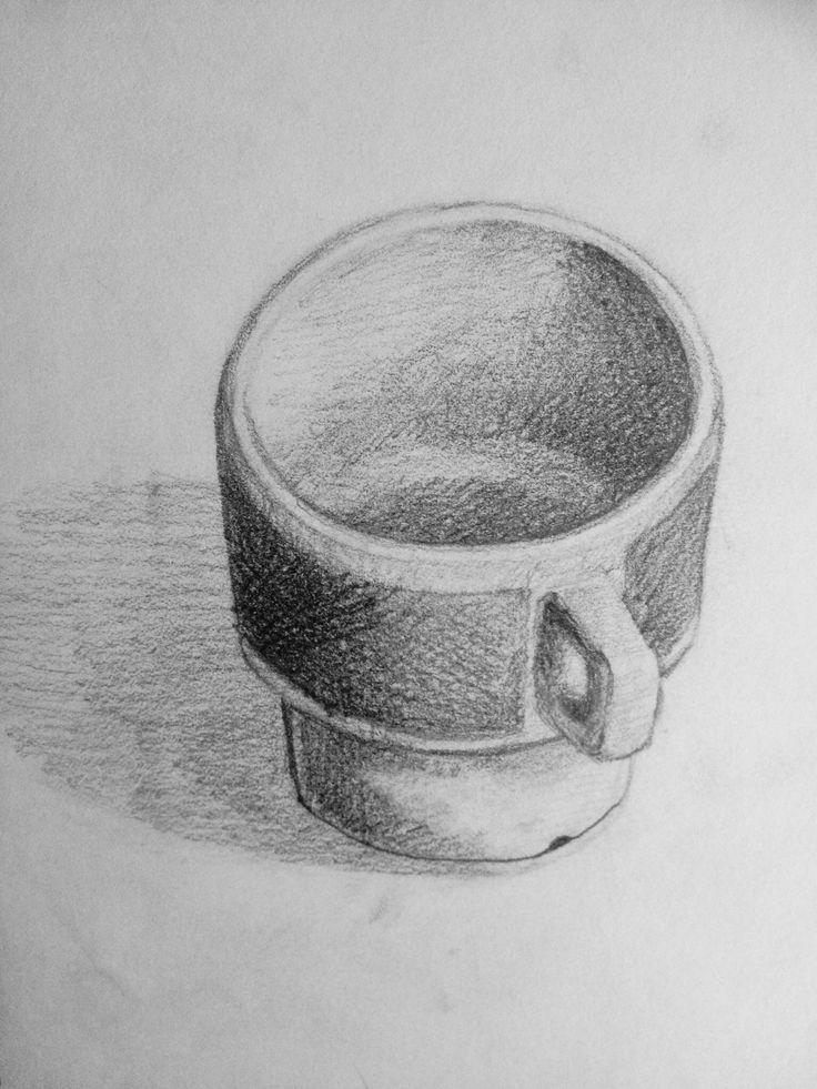 Stilleven. Oefening in het tekenen van ovalen en het arceren van schaduwen.