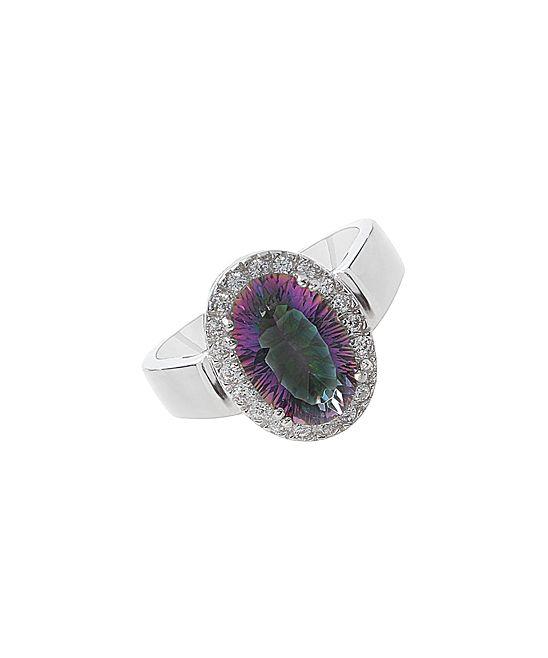 Rainbow Topaz & Cubic Zirconia Oval Ring