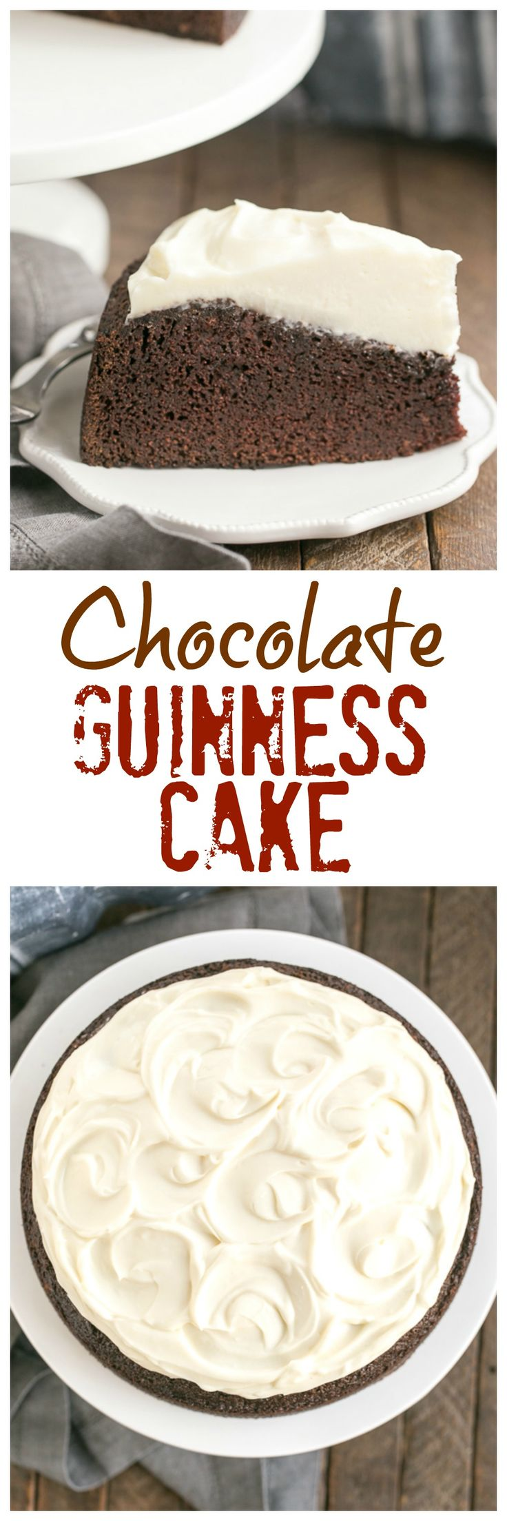 Chocolate Guinness Cake | Rich chocolate one layer cake spiked with Irish brew and topped with cream cheese icing! @lizzydo