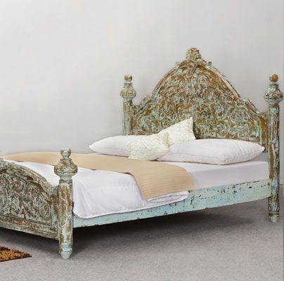 Perfect Victorian Winter White Mango Wood Platform Bed Frame W High Headboard