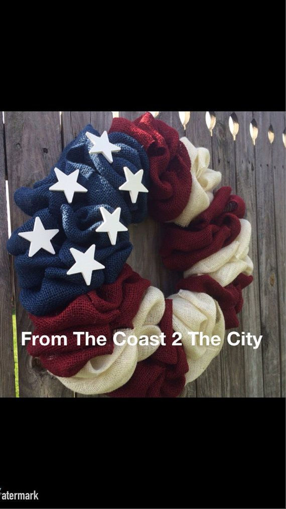 ********Please review the shops current creation time before purchasing in the message board on the shops home page*********        NEW to my shop!!!!!    How gorgeous is this ALL American Flag Burlap Bubble Wreath?!?! Made from rustic blue, red, and white burlap, and adorned with 6 shabby chic white wooden stars, this wreath will be a show stopper itself come Memorial Day and Fourth of July! What a fabulous wreath for a year round display as well. Also a great gift for an service man…