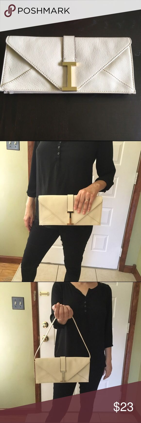 Cream and Gold Clutch Bag Like new condition. Beautiful bag. Open to offers! No trades. Isaac Mizrahi Bags