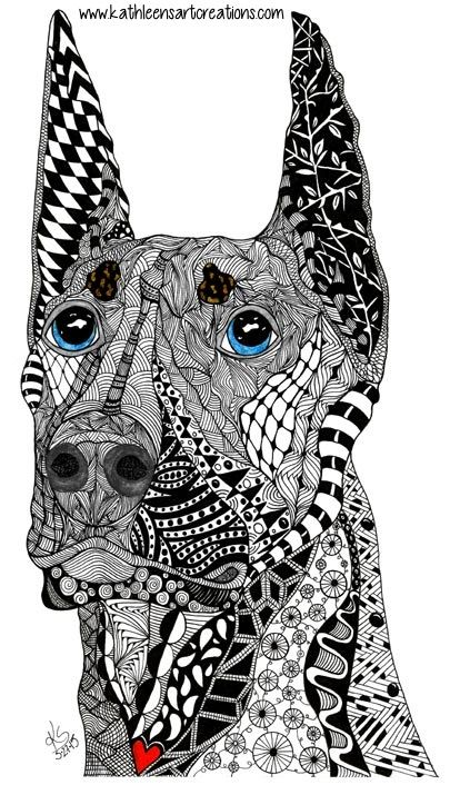 """Whimsical  Zentangle® Inspired design named """"Kane"""" the Doberman Pinscher. Finished 5-27-15. Dedicated to J. Sherman's dog who died of kidney infection in 2014.   A 12-pack of note cards are available for $23.00 with FREE shipping and handling. Prints, pillows, mouse pads, mugs, clothing and much more are available of all my designs."""