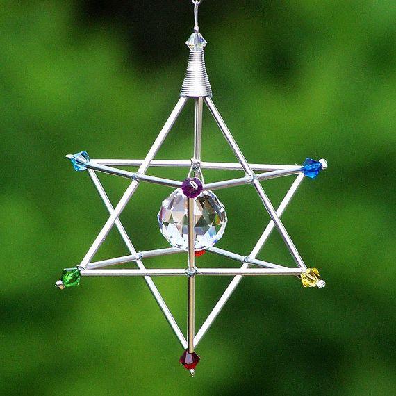 7 Chakras Merkaba Suncatcher / Pendulum by windyscreations, $24.00