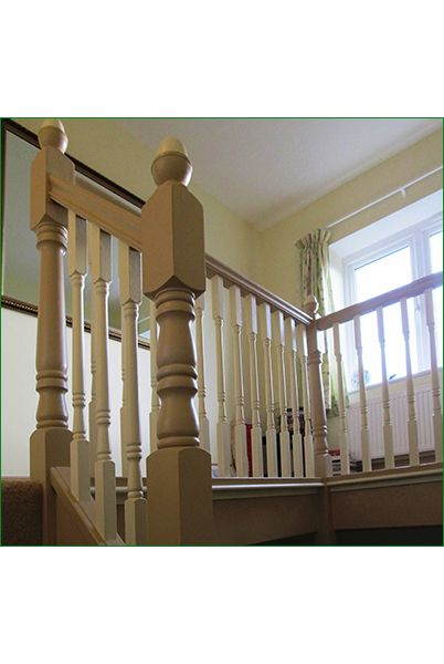 Saffron Staircase - softwood staircase with a winder to the 1st floor & 35mm Georgian spindles and newel posts.