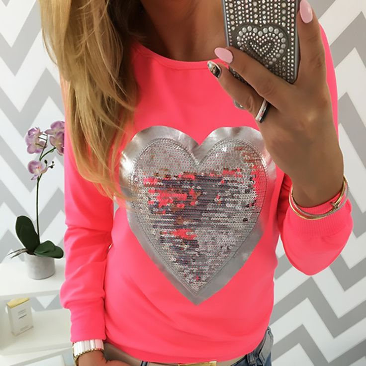 2016 Love Heart Sequins T-shirt Neon Color Round Neck Long Sleeve Slim Casual Cute Women Shirt Pullover Female Clothes #Affiliate