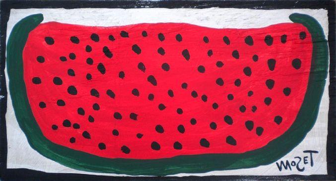 Mose Tolliver, ein afroamerikanischer Farmer, hat sich nach seinem schweren Unfall das Malen selber beigebracht, Seine Arbeiten verblüffen durch ihre absolute Vereinfachhung und Zeichenhaftigkeit. Die vereinfachte Darstellung der Objekte kommt Pictogrammen sehr nahe. Es ist nicht möglich, eine Wassermelone mit geringerem Aufwand klarer und auf das Wesentlichste konzentriert darzustellen. MoseTolliver war darin absolut einzigartig! (www.aussenseiterkunst.ch)