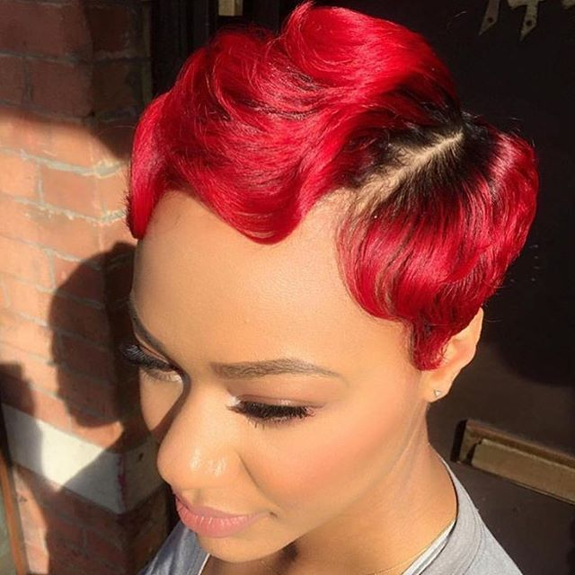 This red on @michi_marshall via @artistry4gg is fire! 🔥#thecutlife #NYCstylist #LAstylist #shorthair #haircolor #waves #dopecut #redhair