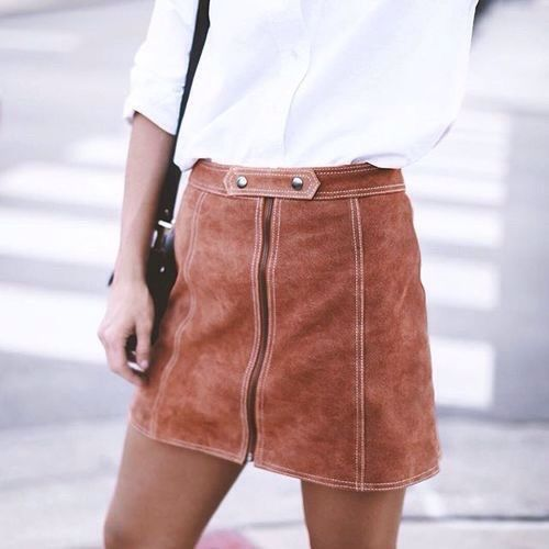 Suade mini skirt go so well with any color top, but I prefer black. Plus they…