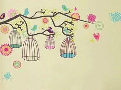 Adesivo de parede  decorativo árvores e pássaros
