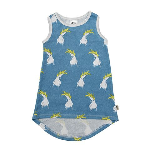 Tank Dress - Cockatoo Printed super soft and stretchy 100% Organic Cotton Tank Dress with 'hi-lo' scoop back hem.     Pop Cockatoo with forget-me-not-blue background.