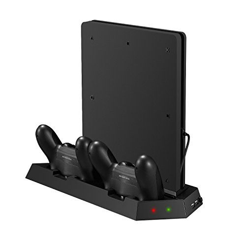 From 8.08:Younik Vg-15 Ps4 Slim Vertical Stand Cooling Fan With Dualshock Controller Charging Station And Usb Hub Charger Ports - 4 In 1 Stand For Playstation 4 Slim