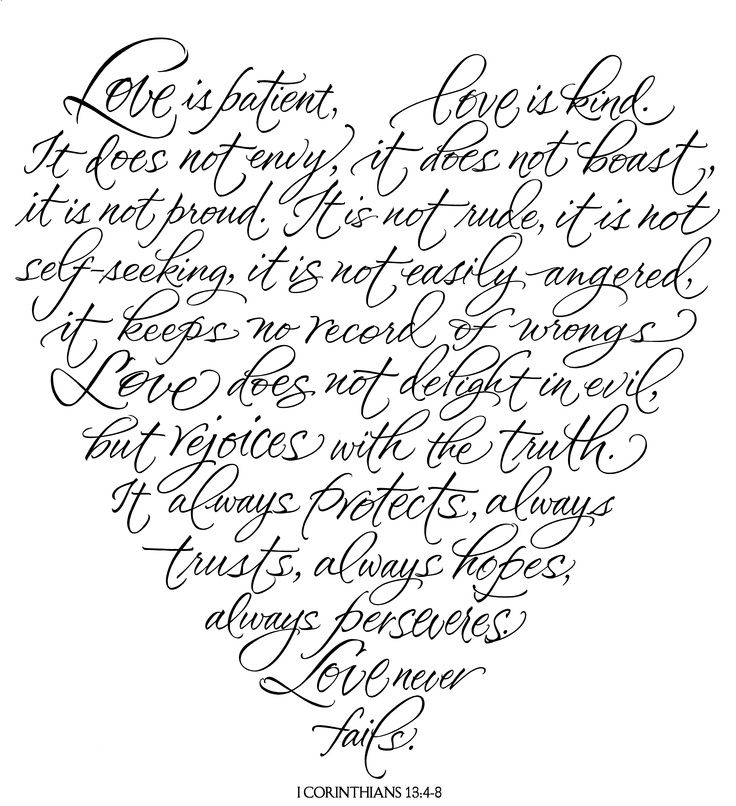 Love is patient, Love is kind. It does not envy, it does not boast, it is not proud, it is not rude, it is not self seeking, it is not easily angered, it keeps no record of wrongs. Love does not delight in evil, but rejoices with the truth. It always protects, always trusts, always hopes, always perseveres. Love never fails .. 1 Cor 13:4-8