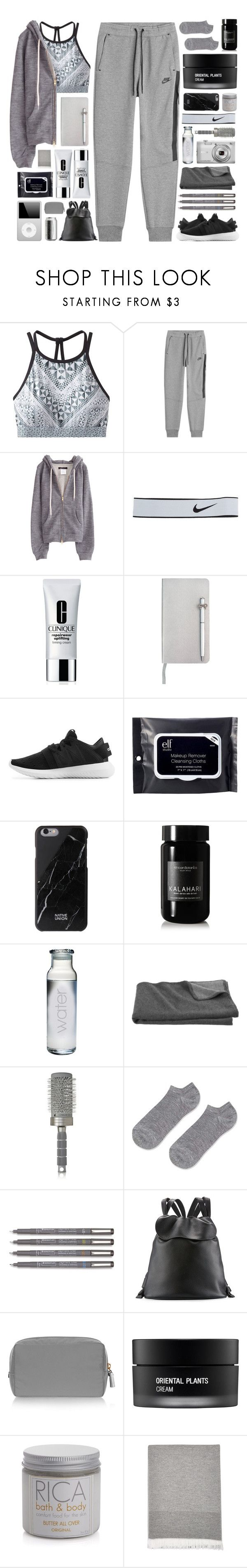 """doble y"" by cnellepoms ❤ liked on Polyvore featuring prAna, NIKE, Clinique, ICE London, adidas Originals, e.l.f., Native Union, African Botanics, Crate and Barrel and Nikon"