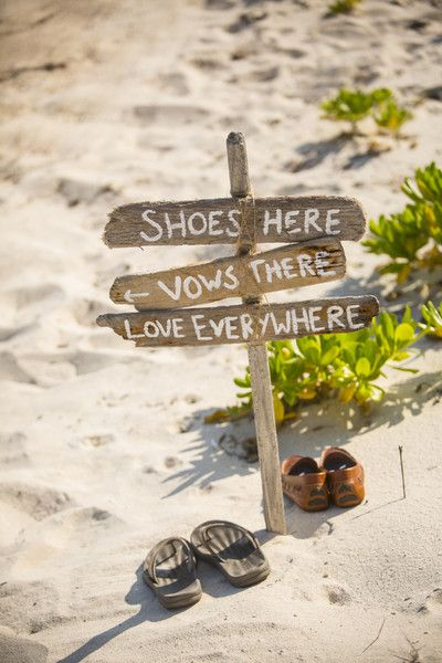 Beach ceremony signage idea - driftwood sign {David Lynn Photography}
