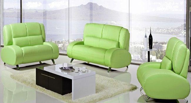 Green Leather Sofa Set