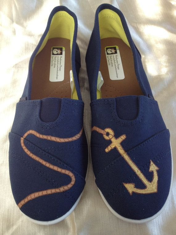 Hand Painted Anchor Shoes by MonkeymouDesigns on Etsy, $30.00  www.facebook.com/MonkeymouDesigns