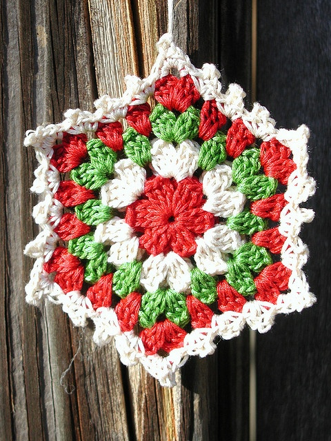Crochet Granny Square Ornament    I've been playing around with my embroidery floss and tiny crochet hook...came up with these little ornaments perfect for my Christmas tree!    They are doubled...meaning I made two of these and crocheted them together with the last row and added the little finished picot border.