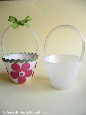 La classe della maestra Valentina: riciclo dei vasetti che sorreggono le uova di pasqua