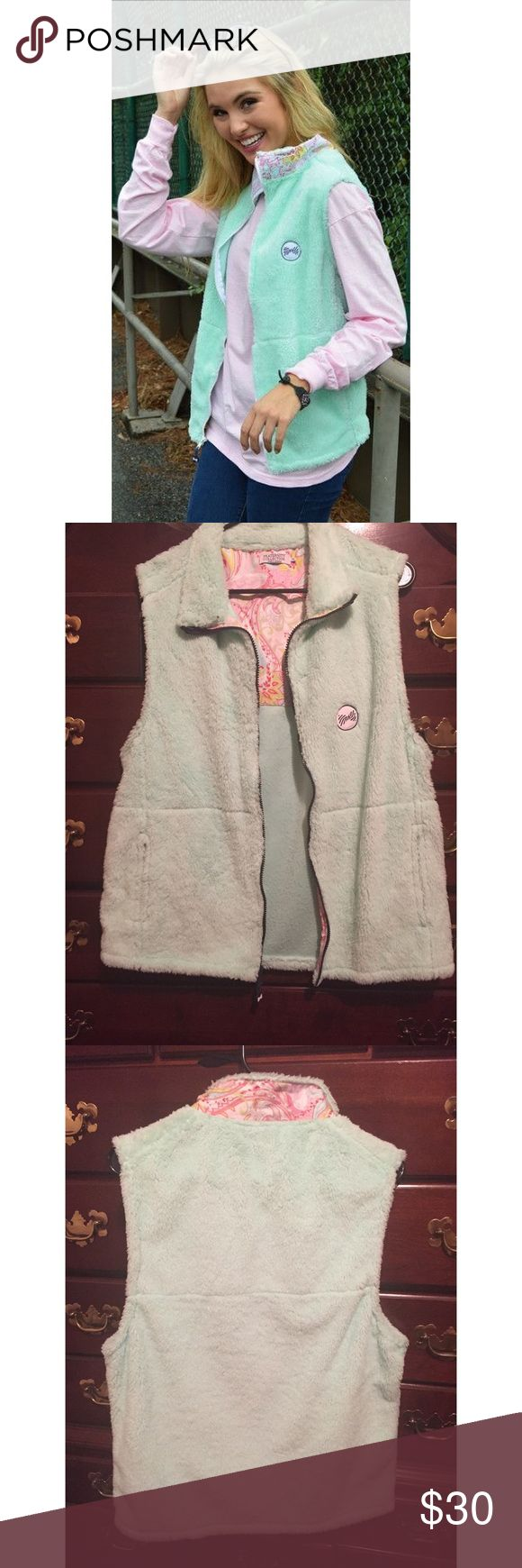 Fraternity Collection Fleece Sherpa Vest Super cute mint sherpa vest! Bought and never worn! In excellent condition. Zips up and has pockets. Fraternity Collection Jackets & Coats Vests