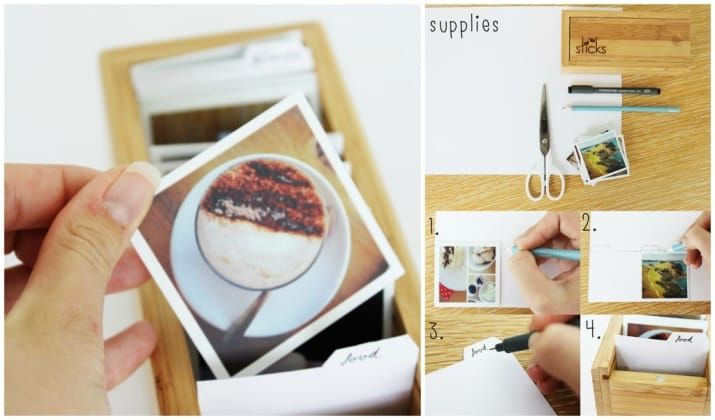 Keep your Prinstagram photos neatly organized in a manilla folder style file box. Check out this tutorial.