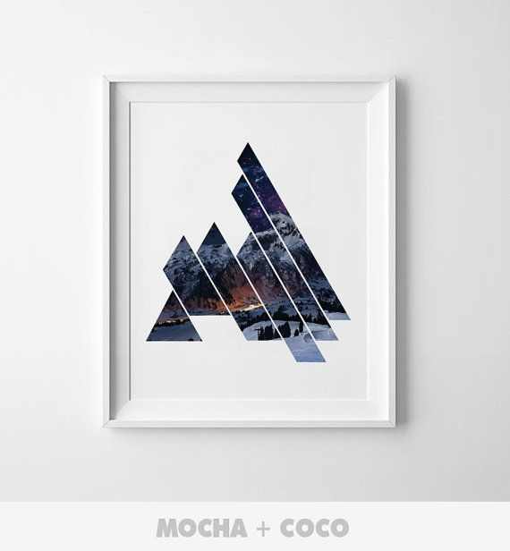Geometric Triangle Mountain Art Poster, Geometric Wall Art, Startup Minimal Decoration, Printable Mocha + Coco, Intstant PRINT FILE DOWNLOAD