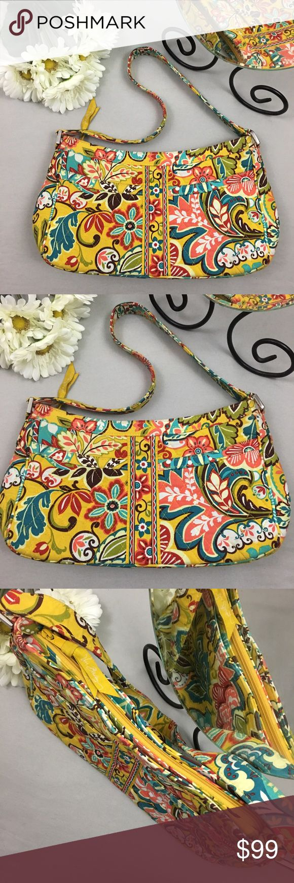 """Vera Bradley Spring Floral Zip Up Handbag *Condition: Excellent. No holes or stains. Most minimal wear to interior. *Zip closure *3.5"""" deep *2 Front pouch pockets *1 interior zip & 2 pouch pockets  *Stored in non-smoking per free home Vera Bradley Bags Shoulder Bags"""