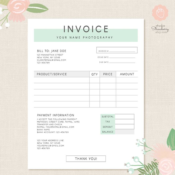Invoice template, Photography invoice, Business invoice, Receipt template for Photographers, Photography forms, Photoshop template, PSD file by StudioStrawberry on Etsy https://www.etsy.com/uk/listing/451181992/invoice-template-photography-invoice