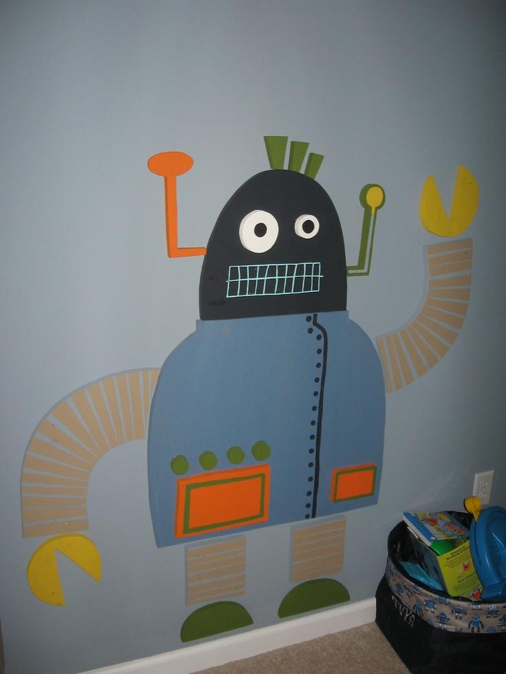 14 best boy 39 s robot themed bedroom images on pinterest for Robot bedroom