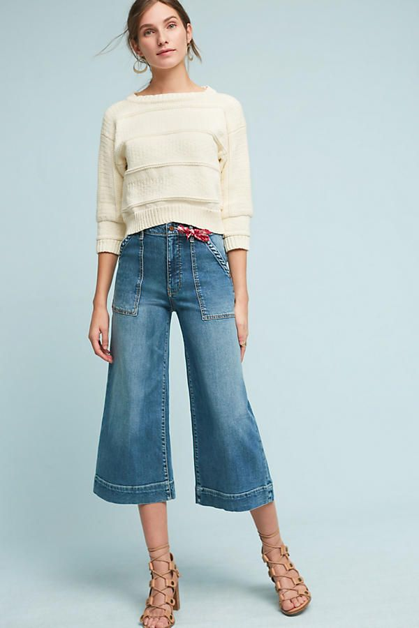 Slide View: 2: Pilcro Utility High-Rise Cropped Wide-Leg Jeans