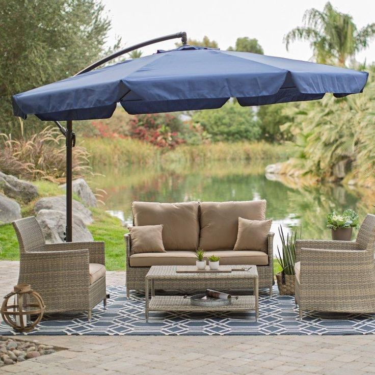 Coral Coast 11-ft. Offset Umbrella with Detachable Netting - Patio Umbrellas at Hayneedle