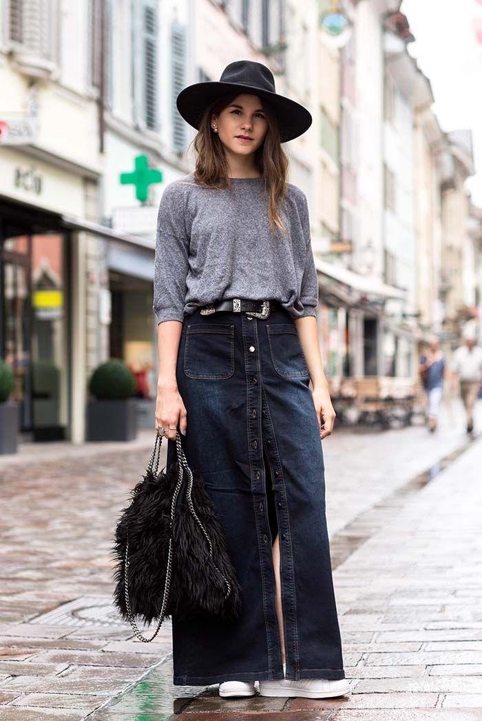fall / winter - street style - street chic style - casual outfits - fall outfits - grey sweater + dark denim maxi skirt + white sneakers + black  fur handbag + black fedora + black belt