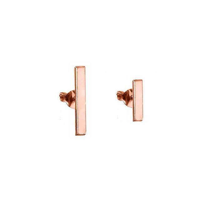 Mismatched bar earrings in rose gold
