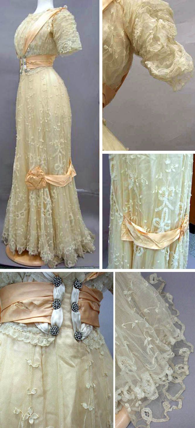 Beige lace and satin dress, ca. 1890s. Trim is pale orange satin. Panels from the waist over the shoulder from front to back. Satin waist cummerbund with rhinestone buttons front and back. Gathered elbow-length sleeves. Skirt has satin trim that ends in bows on either side-front & back. Slight train. North Carolina Museum of History