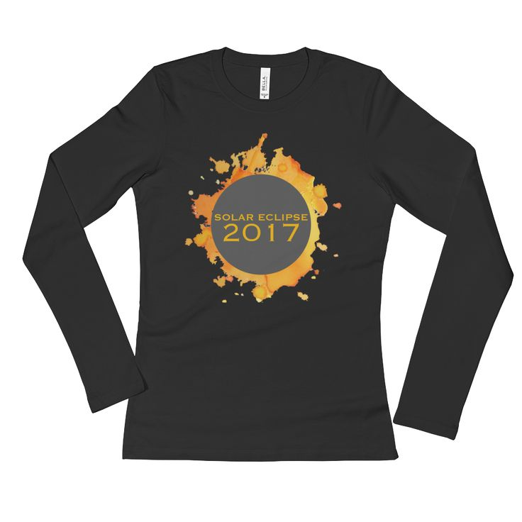 2017 Solar Eclipse Watercolor Burst - Women's Long Sleeve T-Shirt