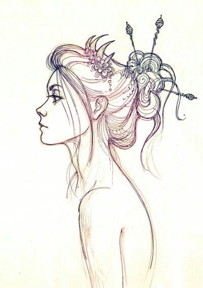 Mermaid Sketch. Artist Unknown. Simple and beautiful!