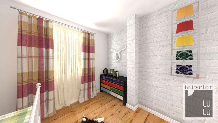 Kolorowa sypialnia, postarzane meble w sypialni