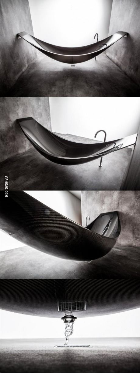 This bathtub is made out of carbon fiber.