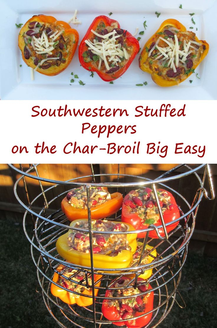 Southwestern Stuffed Peppers on the Char-Broil Big Easy