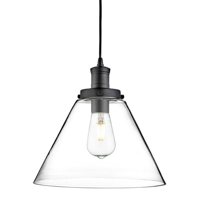 Searchlight Pyramid Matt Black Pendant Light With Clear Glass Shade From Dushka Ltd London UK