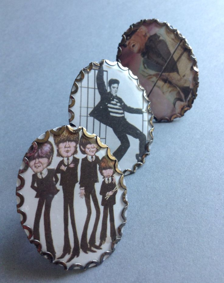 Music Legends Large 30x40mm Photo Cameo Adjustable Ring, shiny black metal, Beatles / Ray Charles / Elvis, large cameos, egst, Greece by GirlyStuffByDeJaVu on Etsy