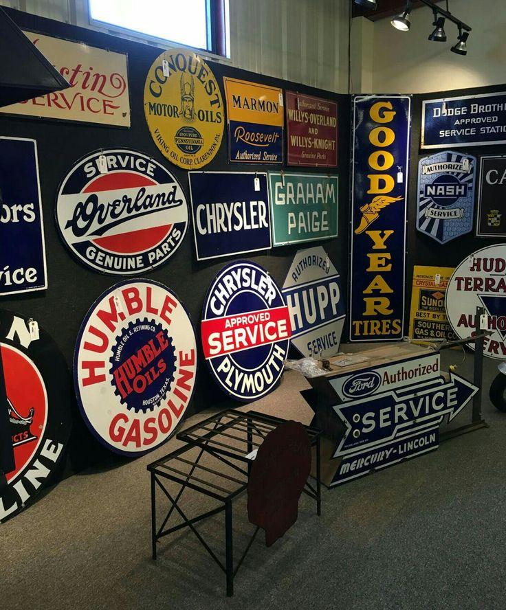 Garage Car Signs : Rare porcelain gas oil signs tin