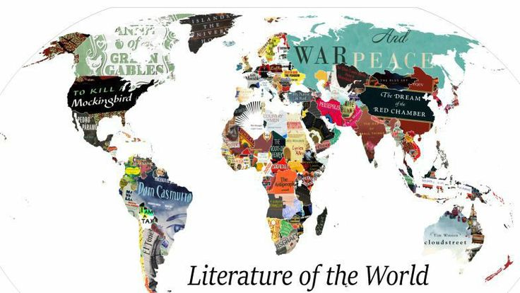 This Literature Map Shows the Best Books from Each Country.  https://www.reddit.com/r/MapPorn/comments/606gq2/literature_map_of_the_world_v2_now_with_book_list/