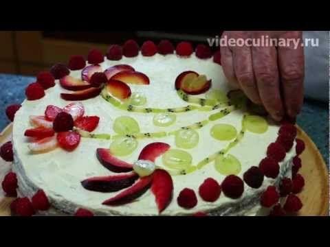 Рецепт - Торт Лёгкий с творожным кремом от http://videoculinary.ru Бабуш...