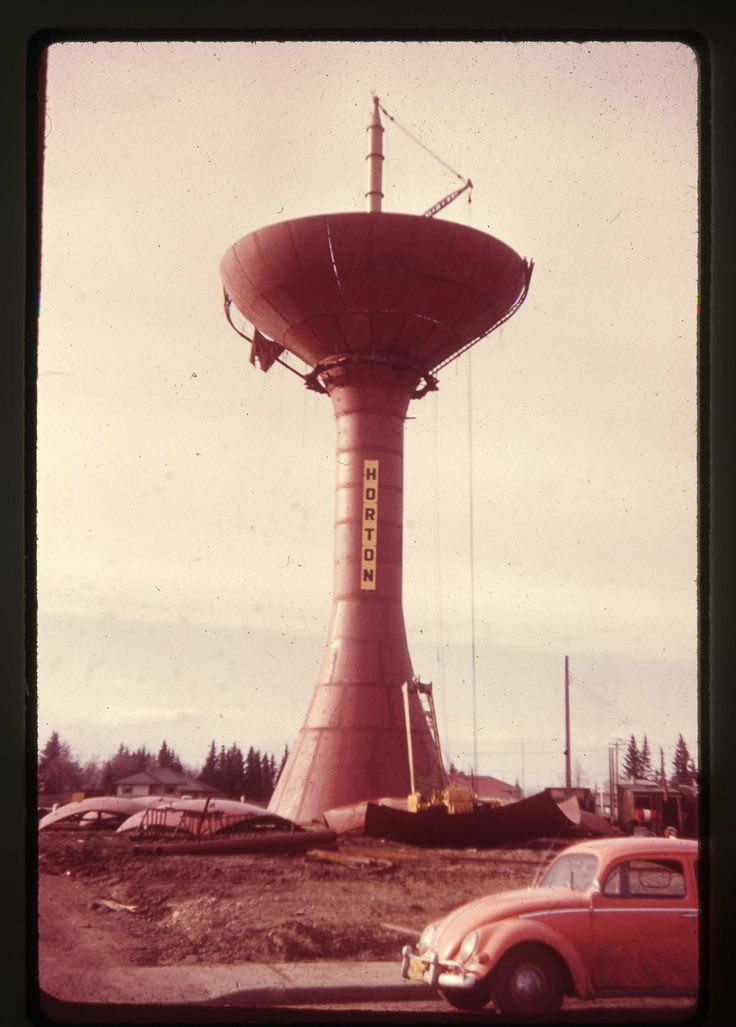 The Horton Tower Spheriod (Green Onion) under construction 1958 Red Deer, AB