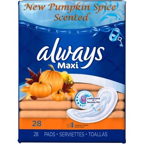 File under Bizarre: Always Maxi Pads Now in Pumpkin Spice Scent This is over the top..not to mention that nice pumpkin scent (Ewwww!) is probably really, really toxic.
